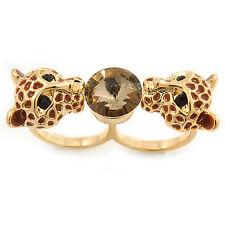 Brown SMALTO, cristallo due Testa Jaguar doppio dito anello in metallo placcato oro -