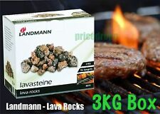 Landmann 3 Kg Lava Rocks BBQ Box Replacement Coal Gas Barbecues Fire Burner Camp