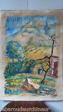"""Peinture """"corse 1959"""" signée par J.Valsan Calvi. """" Corse 1959"""" painting signed"""
