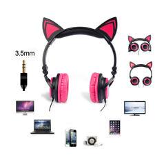 Kids Foldable LED Glowing Cat Ear Headset Gaming Headphone Earphone for Tablet