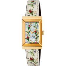Gucci YA147407 G-Frame Swiss Leather Strap Flowers Rectangular Women's Watch