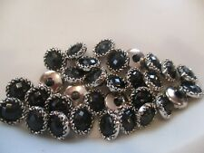LOT OF 30 BLACK & SILVER COLOR 9/16 INCH SHANK BUTTONS, NEW