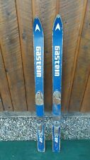 """VINTAGE Wooden 52"""" Skis Blue and White Finish with Metal Bindings Signed GASTEIN"""