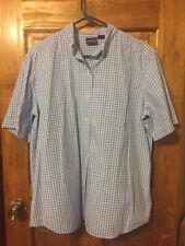 Women sz L Shirt SS blue white checked button down Allison & Co GUC