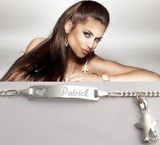 Namen Wunsch Gravur Damen Armband Armkette Echtes Silber Herz und Schutzengel