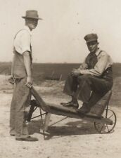1930's Photograph Railroad Engineer & Conductor With 2 Wheel Hand Cart