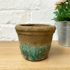 Antique Ceramic Mosaic Crackle Amathyst Flower Dutch Round Plant Pot Planter A