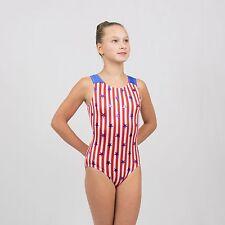Gymnastics Tank Leotard size Medium Child(8-10 years) Red/White strips and stars