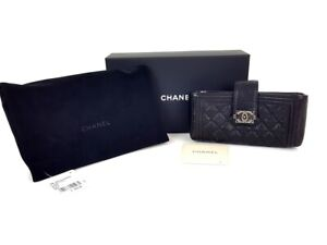 Chanel Black Caviar Quilted Leather Mini Boy Clutch Wallet Bag NWTS Box