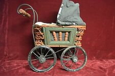 """VINTAGE/ANTIQUE DOLL STROLLER/BABY BUGGY 15"""" TALL WITH MOVING WHEELS & TOP FOLDS"""