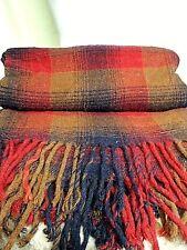 """Vintage PENDLETON Wool Blanket Throw Red Navy Brown Plaid Fringed 52"""" x 72"""" Nice"""