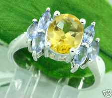 2.43 ct 14k White Gold Ladies Natural Citrine & Marquise Tanzanite Ring Cocktail