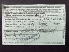 Puerto Rico 1988, USPS FORM 3811 receipt, Hacienda, Salvador Morales San German