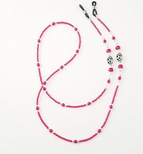 Handmade Beaded Eyeglass Chain/Holder~Red & Silver~Crystal