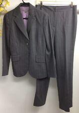 Ann Taylor Women's Career Gray Stripe Wool Blend 2 Piece Pant Suit Size 6/4 EUC.