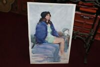 Original Water Color Portrait Painting Young Girl Short Skirt Hat On Head