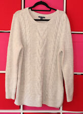 "Tommy Hilfiger Men's Cable Knit Light Grey Jumper Chunky Soft 52"" Chest Size XL"