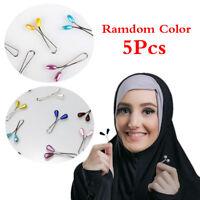 5Pcs Chic Muslim Women Hijab Pins Pearls Brooches Scarf Clip Elegant Headdress
