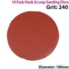 QTY 10 - 180mm 7 Inch Sanding Discs 240 Grit - Orbit Sander - Hook & Loop