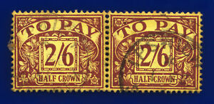 1938 SG D34 2s6d Purple/Yellow R34 Pair Ipswich 1 FE 51 Fair Used dkio