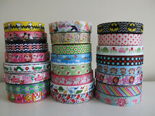 💕 Printed Grosgrain Ribbon Dummy Hair Clips Cake Craft Hair Bow 1 Meter 22/25mm