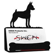 Swen Products Miniature Pinscher Dog Black Metal Business Card Holder