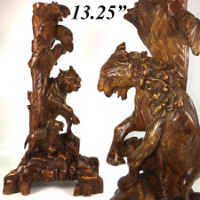 """Antique Asian Carved Wood Lions, Lamp Base - 13.25"""" Tall, Chinoiserie, Japonaise"""