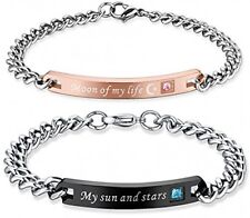 His And Hers 'My Sun And Stars, Moon Of My Life' Stainless Steel Couple