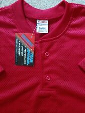 Vintage New Champro Team Apparel Mesh Henley Jersey T-Shirt - Size L - Red