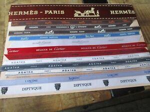 Tissus collectors,parfums de marque-Lot Hermès,Gallet,Diptyque,Lancome,Agatha...