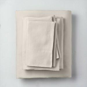 Queen 100% Linen Solid Sheet Set Natural - Casaluna