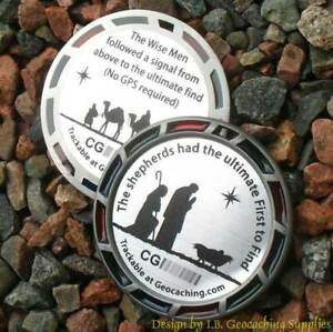 Christmas Shepherds and Magi Geomedal Geocoin (Translucents + Ant. Silver Color)