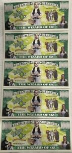 WIZARD OF OZ MIILION DOLLAR NOVELTY NOTES LOT of (5) BEAUTIFUL DESIGN NICE GIFT