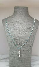 925 Sterling Silver Long Necklace with Cubist Swarovski and Small Pearl