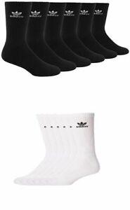 3 Pair Men's Adidas Originals Crew Socks Black or White Trefoil Logo Size 6-12
