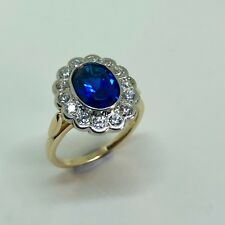 Synthetic SAPPHIRE with 14 x REAL Diamond Halo - 14k Yellow Gold Ring - Size K