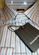 NEW $500 ERMENEGILDO ZEGNA DRESS SHIRT 17 36 43EU blue mauve white stripes z53