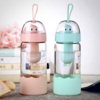 Cute Kids Water Bottle with Fruit Infuser | 12 Oz. Glass, Leak-proof Bottle