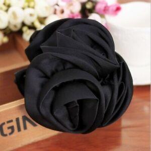 Women Korean Style Rose Flower Bow Bun Jaw Clip Barrette Hair Claw Accessories