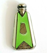 Antique Sterling Silver Perfume Scent Bottle Mint & White Guilloche Enamel