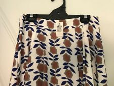 NWT DOTTI White and Blue Floral Knee Length Skirt Size 12