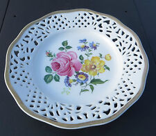 BAVARIA SCHUMANN ARZBERG PLATE WITH ROSE / FLORAL DECORATION PIERCED DETAIL