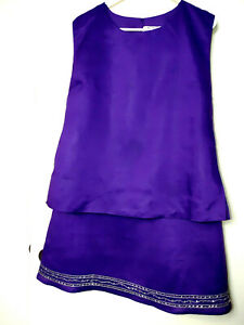 LA REA COLLECTION 1X PURPLE 2PC SKIRT SET 100% LINEN SEQUENCE BEADED LINED NWOT