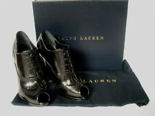 Ralph Lauren Ladies Janera Black Leather Lace-up Shoes UK 4 37 US 7.5