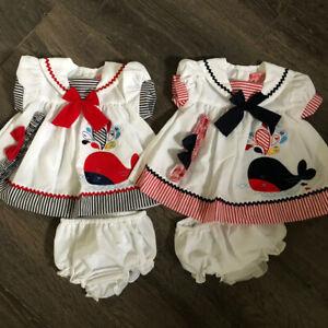Baby babies girl girls dress dresses + knickers summer navy white red & headband
