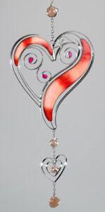 Moderner Dekohänger Tiffany Herz rot silber, 52 cm Fensterdeko Hängedeko modern
