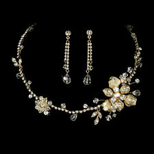 Gold Floral Crystal and Rhinestone Wedding Jewelry Necklace and Earrings Set