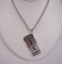 Han Cholo Brass HC Drink Ticket Pendant Silver Necklace 24""
