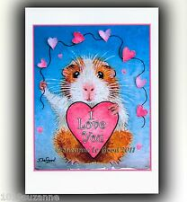 Guinea Pig art Valentines Card large from original painting by Suzanne Le Good