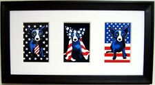 "GEORGE RODRIGUE PATRIOTIC NOTECARD TRIO - FRAMED 22""x12"""
